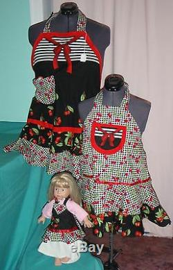 3 pc Black & Red Cherry Apron Set for Adult, Child & American Girl Doll AGAPS19