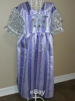 #89 ADULT BABY SISSY ABDL Purple SILK FANCY PARTY DRESS sz 3x/4x