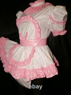 A7Adult Baby Sissy pvc dress with sewn in diaper pantykleid & Spreizhose