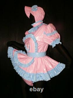 A8Adult Baby Sissy pvc dress with sewn in diaper pantykleid & Spreizhose