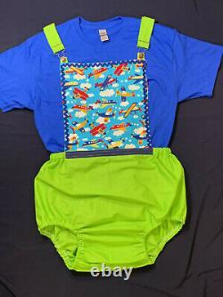 ABDL Adult Baby Sissy Littles AIRPLANE Romper 2 PC SET Dress UP Binkies n Bows