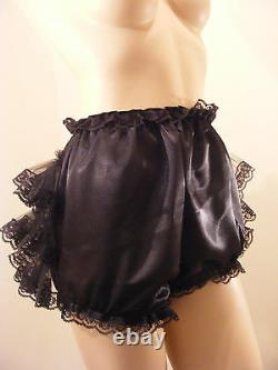 ADULT BABY SISSY BLK SATIN RUFFLE BUM DIAPER COVER PANTIES WithPROOF/LOCKING ABDL