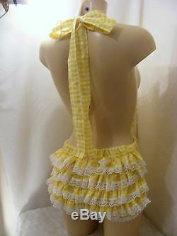 ADULT BABY SISSY DRESS GINGHAM ROMPER SUN SUIT DUNGAREES WithPROOF LOCK ABDL