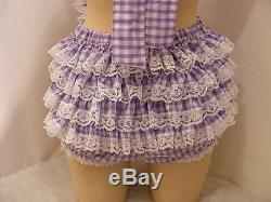 ADULT BABY SISSY DRESS GINGHAM ROMPER SUN SUIT DUNGAREES WithPROOF LOCKING ABDL