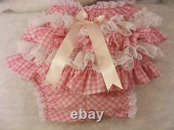 ADULT BABY SISSY GINGHAM LACE RUFFLE DIAPER COVER PANTIES WithPROOF