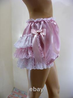 ADULT BABY SISSY PINK SATIN LACE RUFFLE DIAPER COVER PANTIES WithPROOF OPTION