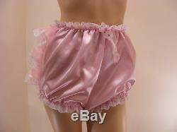 ADULT BABY SISSY PINK SATIN ORGANZA RUFFLE DIAPER COVER PANTIES WithPROOF LOCKING