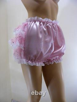 ADULT BABY SISSY PINK SATIN ORGANZA SEQUIN DIAPER COVER PANTIES WithPROOF