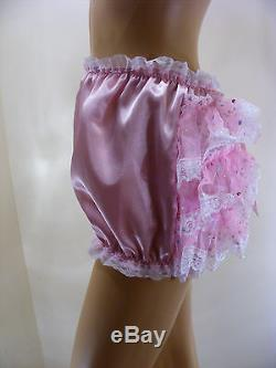 ADULT BABY SISSY PINK SATIN ORGANZA SEQUIN DIAPER COVER PANTIES WithPROOF LOCKING
