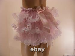 ADULT BABY SISSY PINK SATIN RUFFLE BUM DIAPER COVER PANTIES WithPROOF