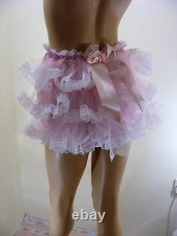 ADULT BABY SISSY PINK SATIN RUFFLE BUM DIAPER COVER PANTIES WithPROOF LOCKING ABDL