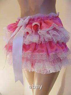 ADULT BABY SISSY PINK SATIN TULLE RUFFLE DIAPER COVER PANTIES WithPROOF
