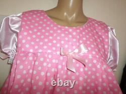 ADULT BABY SISSY PINK SATIN and polka dot PRETTY FRILLY BABY DOLL DRESS 44