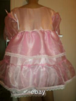 ADULT BABY SISSY PINK SATIN organza PRETTY BABY DOLL DRESS 46 CHEST 26 LONG