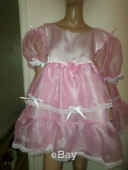 ADULT BABY SISSY PINK SATIN organza PRETTY BABY DOLL DRESS 52 CHEST 26 LONG
