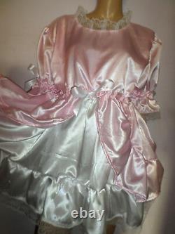 ADULT BABY SISSY PINK WHITE SATIN bo peep DRESS 44 PRETTY FRILL HEM