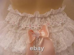 ADULT BABY SISSY WHITE COTTON LACE RUFFLE DAPER COVER PANTIES WithPROOF LOCKING