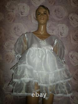ADULT BABY SISSY WHITE SATIN organza PRETTY BABY DOLL DRESS 52 CHEST 26 LONG