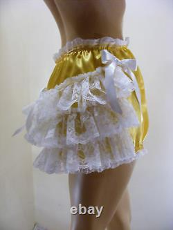 ADULT BABY SISSY YELLOW SATIN LACE RUFFLE DIAPER COVER PANTIES WithPROOF LOCKING