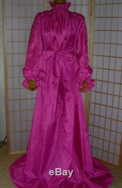 ADULT Nylon Kleid Baby Dienstmädchen kleid Sissy Kleid Zofe Maid PINK