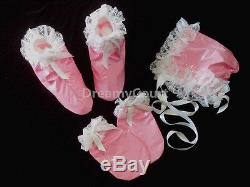 ADULT SISSY BABY PVC RUFFLES DRESS FULL SET baby pink (MITTS, BONNET & BOOTIES)