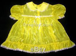 ADULT SISSY BABY SUPER-SHIN MIRROR BABY DRESSyellow