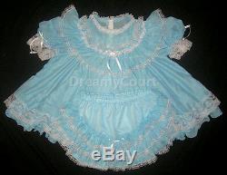 ADULT SISSY FRENCH BABY CHIFFON DRESS L blue