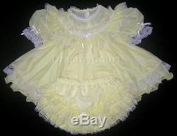 ADULT SISSY FRENCH BABY CHIFFON DRESS L yellow