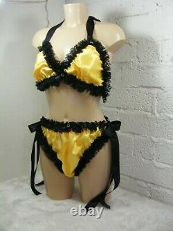 ADULT baby sissy lingerie yellow satin with black edging bra and panties set