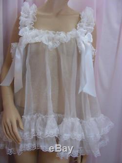 ADULT sissy organza babydoll negligee nighty dress fancydress maid cosplay CD TV