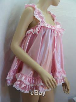 ADULT sissy satin babydoll negligee nighty dress fancydress maid cosplay CD TV