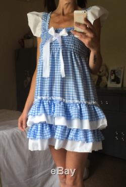 ALL Sizes 55GBP Adult Baby Sissy ABDL BLUE or pink gingham frilly dress cosplay
