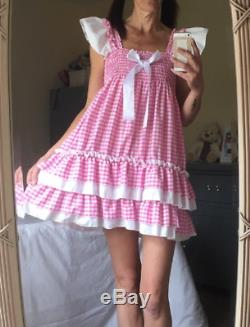 ALL Sizes 55GBP Adult Baby Sissy ABDL PINK or blue gingham frilly dress cosplay