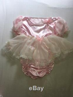 ALL Sizes £60 ABDL Adult Baby Sissy Short Romper Dress Pink Satin lace diaper