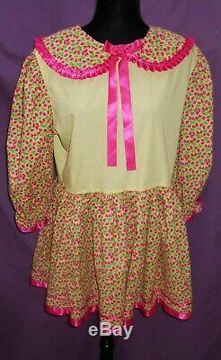 Adorable Yellow Cotton Adult Sissy Girl Baby Dress RaspBerry Long Sleeves Pink