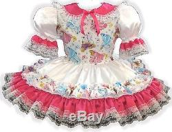 Adriana CUSTOM FIT Lacy Satin Princess Adult LG Baby Sissy Dress LEANNE