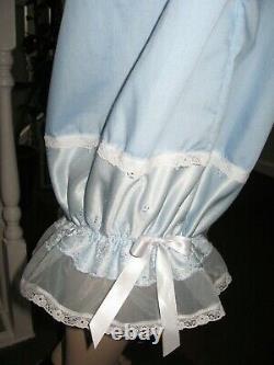Adult Baby Blue Pantaloons Extra Long sissy Bloomers nylon cotton lace Lolita UK