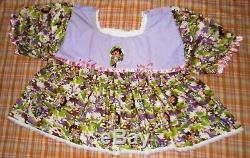 Adult Baby Doll Sissy Dress And Attach Skirt Diaper Cover Set