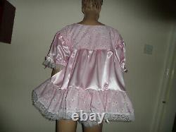 Adult Baby Doll Sissy Pink Satin + Daisy Dress 44 + Pants Set