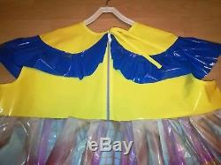 Adult Baby Kleid Gelb Windelhose Sissy PVC LACK Diaper Plastik Disney Dress L-XL