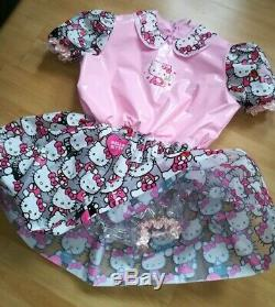Adult Baby Kleid INTEGRIERTE Windelhose Sissy PVC LACK Diaper HELLO KITTY