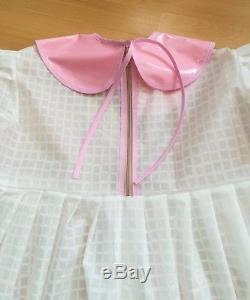 Adult Baby Kleid Sissy PVC LACK Diaper Plastik WEI TRANSPARENT WEICH GR. XL