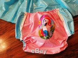 Adult Baby Kleid Windelhose Gummihose Sissy PVC LACK Diaper Plastik EINHORN XL
