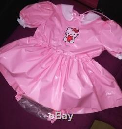 Adult Baby Kleid Windelhose Gummihose Sissy PVC LACK Diaper Plastik HALLO KITTY