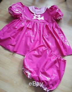 Adult Baby Kleid Windelhose Gummihose Sissy PVC LACK LATEX GUMMI ZOFE Plastik XL