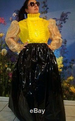Adult Baby Lack PVC PLASTIK GUMMI SISSY SET BLUSE + ROCK Gr. XL GELB SCHWARZ
