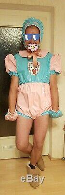 Adult Baby SET Windelbody Body Faustlinge Mütze Sissy PVC LACK Diaper Plastik XL
