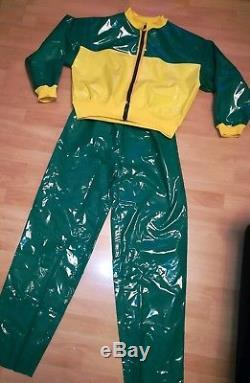 Adult Baby SISSY GUMMIHOSE PVC Hose +JACKE LACK Sportanzug Jogginganzug PLASTIK