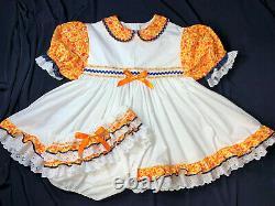 Adult Baby Sissy (44 CHEST) Orange Flower Eyelet Dress Diaper Cover ABDL Little