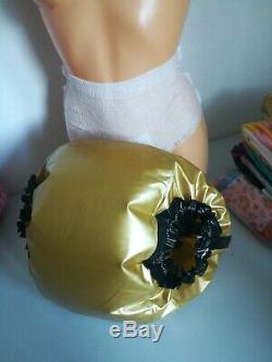 Adult Baby Sissy Aufbasbare Windelhose Gummihose Lack Pvc Plastik Spreizhose XL